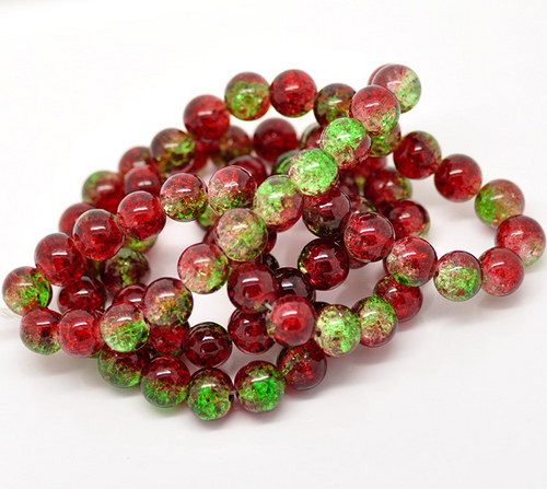 práskačky/ zeleno-červené/ 10mm/ 1šňůrka cca83ks