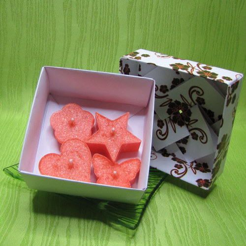 Dárková krabička - svíčky palmové oranžové