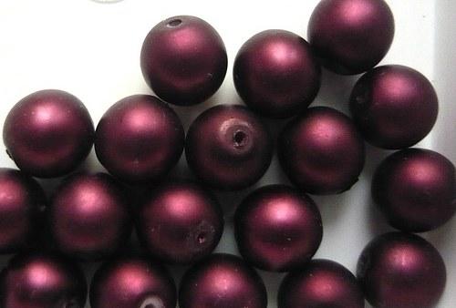 Voskové perly matné průměr 6mm 20 ks barva vínová