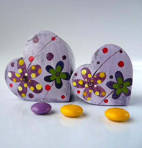 Láskobal - fialový s kytkami