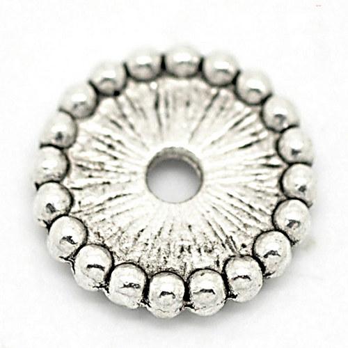 kovový korálek/  ant. stříbro/ 12mm/ 6ks