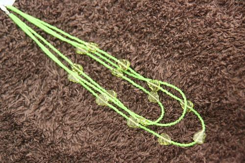 Náhrdelník - zelené lístky ... (SLEVA ze 190,-)