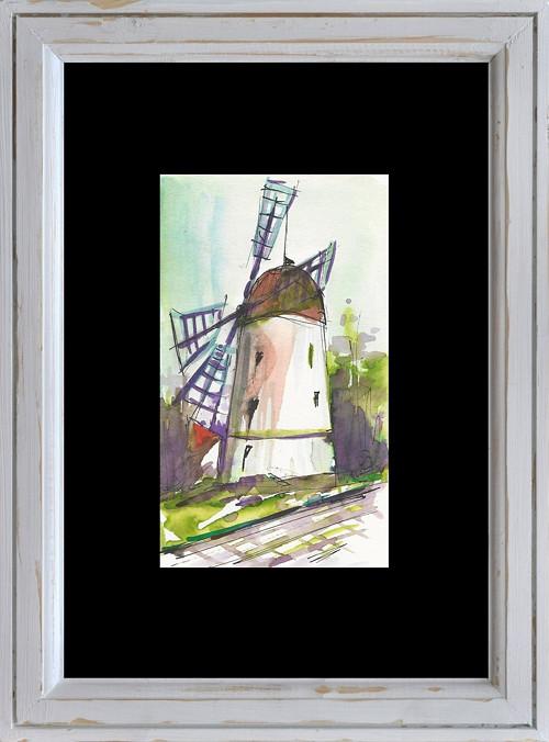 Akvarel, Větrný mlýn v třebíči