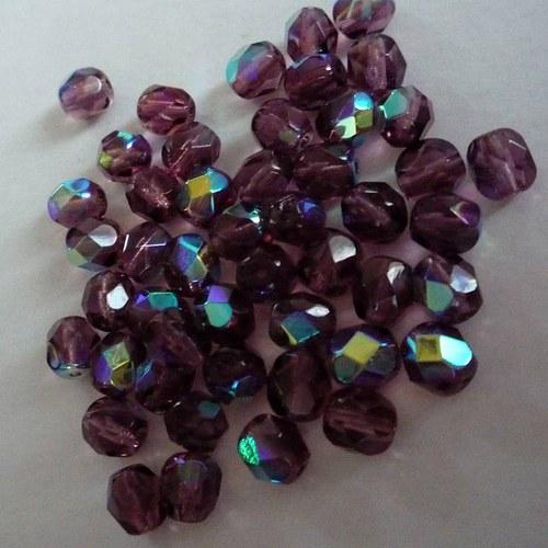 Broušené fialové s pokovem 6mm