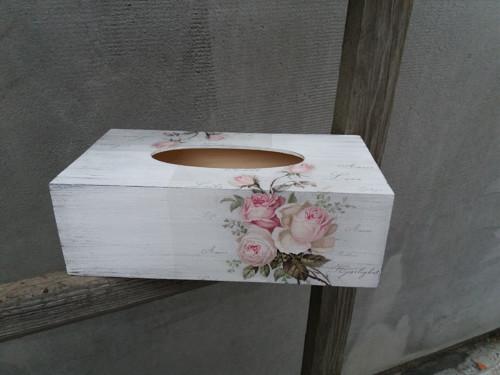 Krabička na kapesníčky růže bílá