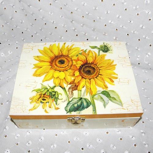 Krabička na čaj se slunečnicemi