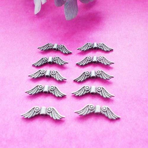 Andělská křídla 23x7mm starobronz, 10ks