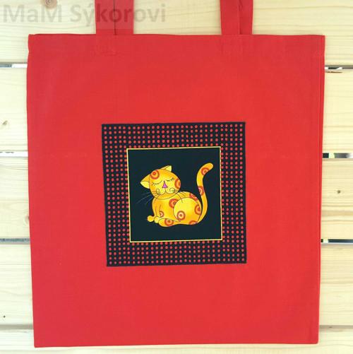 Bavlněná taška s aplikací žlutá kočička