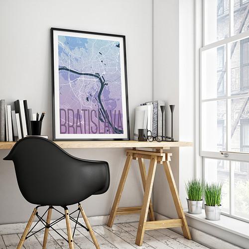 BRATISLAVA, 50x70cm, elegantní, modro-fialová