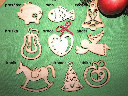 Vánoční dřevěné ozdoby FIGURKY - 9 druhů - S