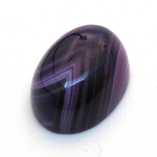 Kabošon fialový pruhovaný achát ovál 18mm