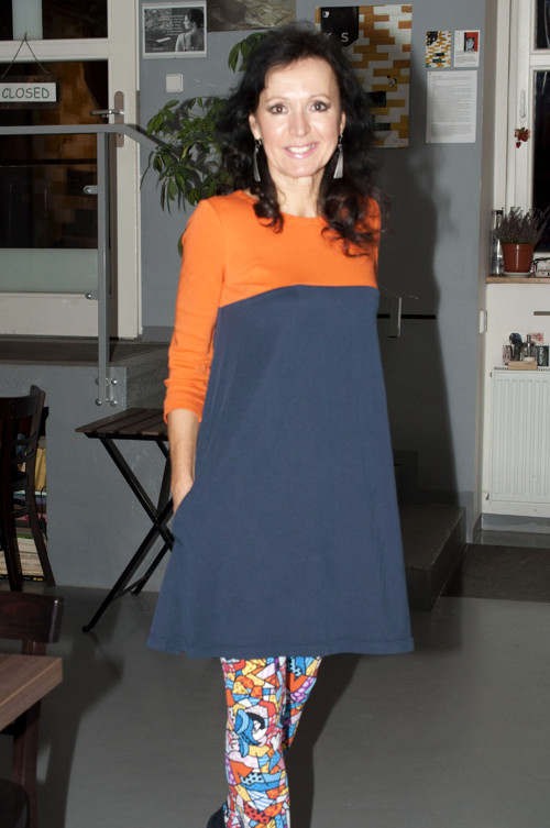 Dress Orange/DeepBlue Combo/Pockets