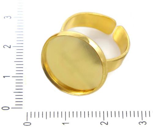 2ks Zlatý Pokovené Lůžkem Nastavitelný Prsten Base