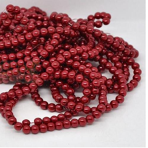 perly skleněné / červená / 6mm/ 20ks