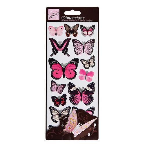Plastické samolepky DIMENSIONS Motýlí křídla PINK