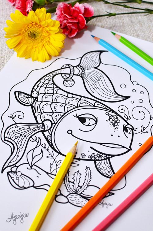 Zlatá rybka – omalovánková ilustrace (K TISKU)