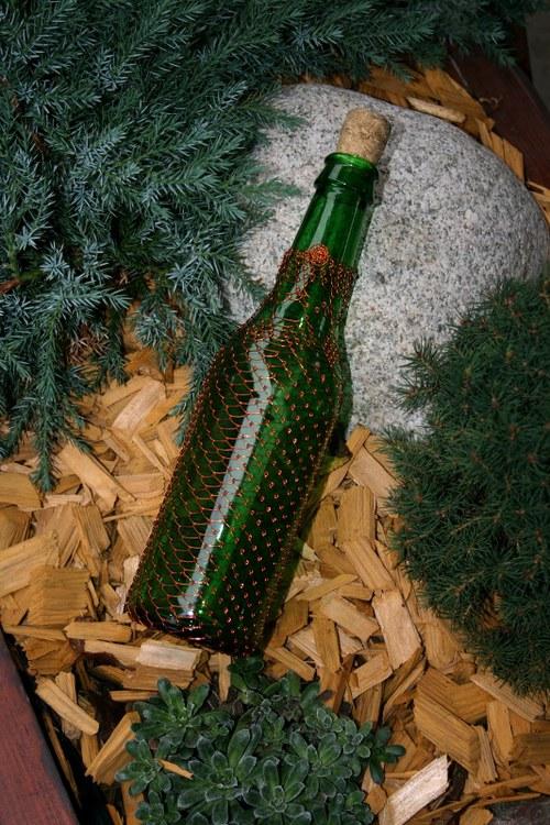 Dekorativní drátovaná zelená lahev 2.