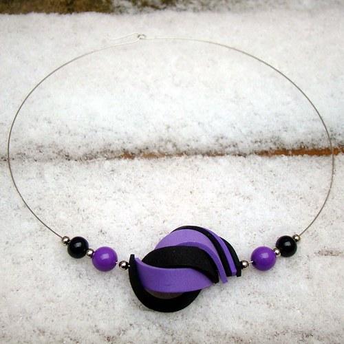 náhrdelník ulita fialovočerná