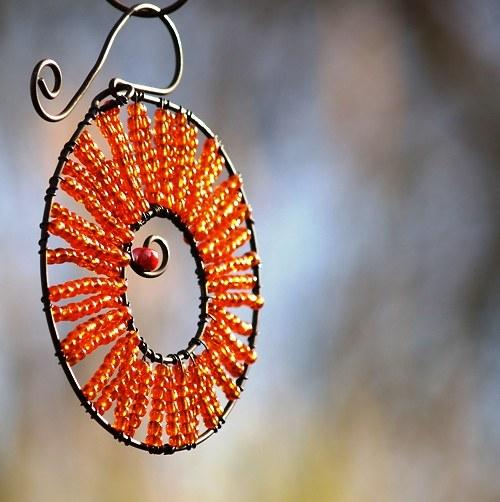 Kolečko k zavěšení oranžové  - 10 cm