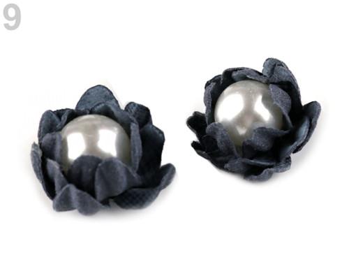 Květ s perlou Ø18 mm (2ks) modrá tmavá