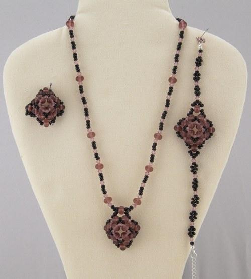 Souprava fialovo-černá - náhrdelník,náramek,prsten
