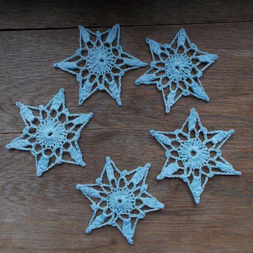 Háčkované vločky - 5 ks - sv. modré