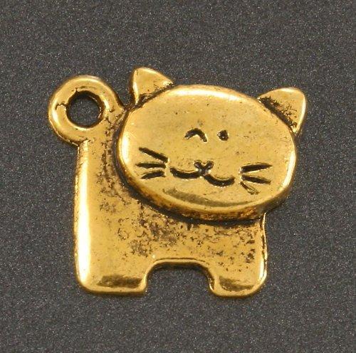 Přívěsek - kočka s kulatou hlavou, zlatá, 1 ks
