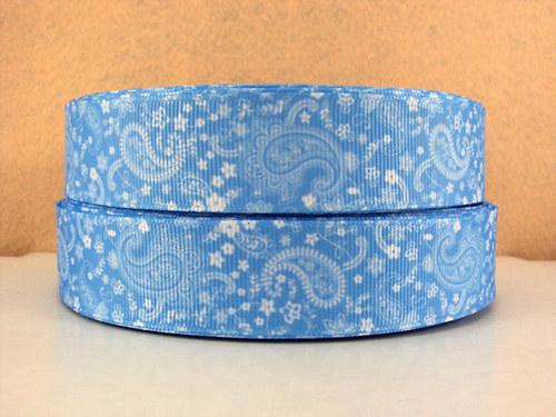 Stuha rypsová š.25 mm:Paisley-sv. modrá