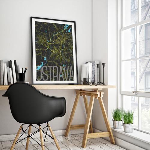 OSTRAVA, 50x70cm, elegantní, černá