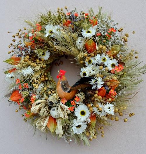 s kohoutkem.... přírodní velikonoční  věneček