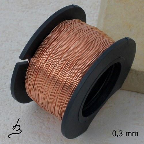 Měděný drát 0,3 mm nelakovaný - 50 m