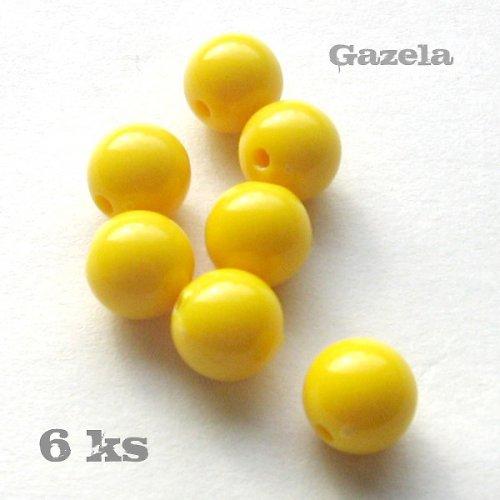 Korálek plastový žlutý - 6 ks