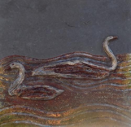 Kachel raku labutě