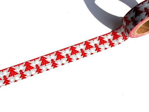 Páska: Červené stromečky (1,5 x 33 cm)
