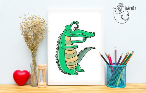Krokodýl (vystínovaný)