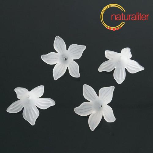 Květina akrylová - lilie 26mm bílá, 4ks