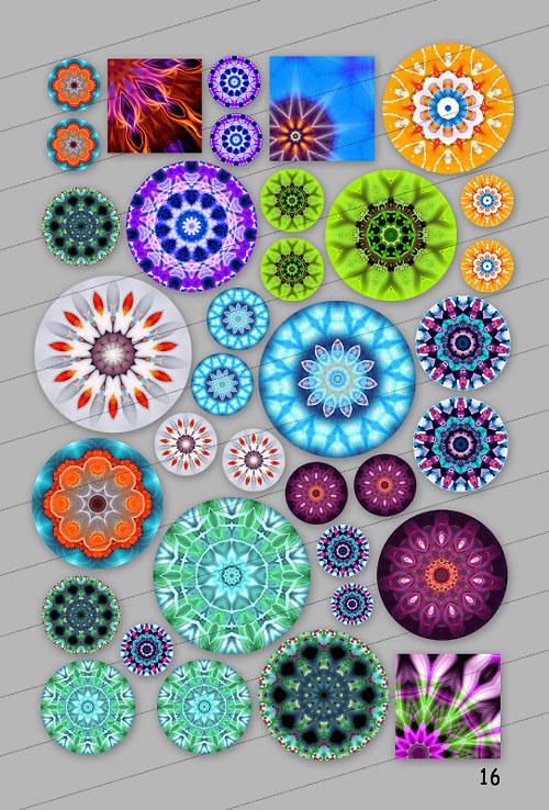 Motivy 30,25,18, 15,12,10,8, 20x20, 18x18 mm (16)