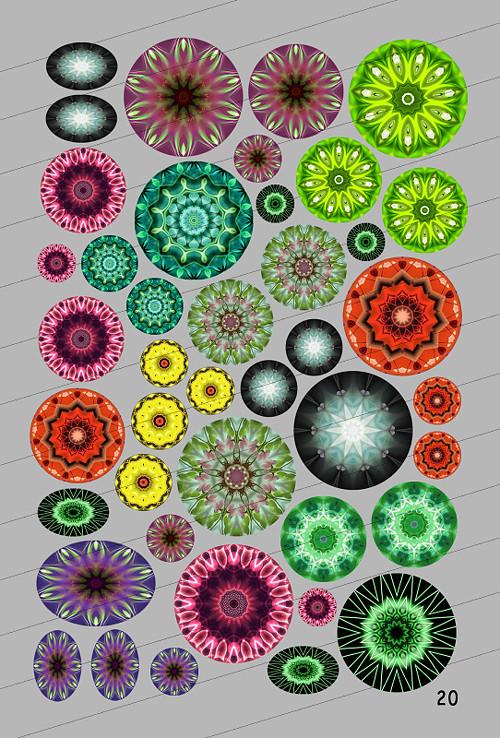 Motivy 25, 20, 18, 12, 10, 8, 18x25, 10x15 mm (20)