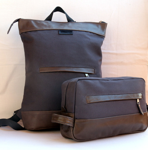 AKCE 20% Minimalistic backpack, Leather and canvas