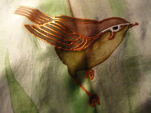 Ptáček na stéblu trávy - hedvábná šála