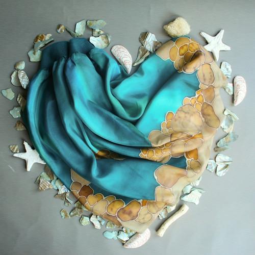 Ručně malovaná hedvábná sukně - Na dně moří