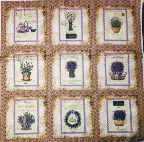 bavlněná látka - sada 60 x 60 cm LEVANDULE