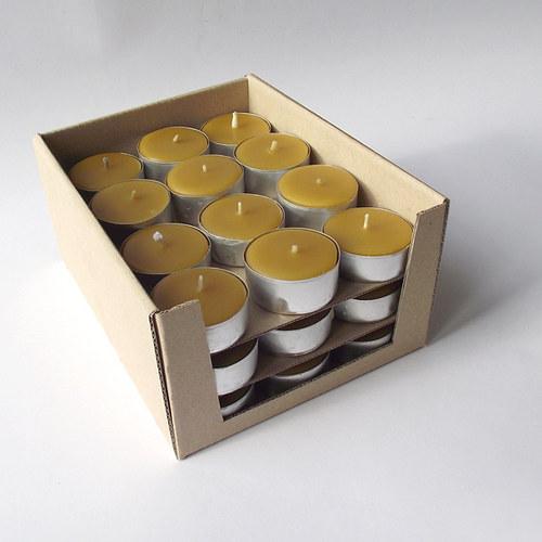 Čajové svíčky / včelí vosk, sada 36 ks