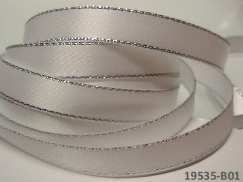 19535-B01 Stuha satén 10mm stř.lem BÍLÁ, á 1m