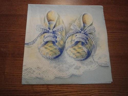 Ubrousek na decoupage - bačkůrky modré
