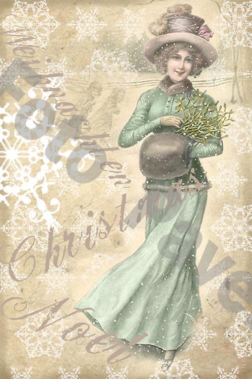 Vintage motiv - dáma - vánoce 2