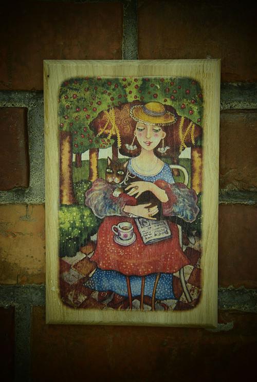 Dřevěný obrázek - Dáma s kočkou