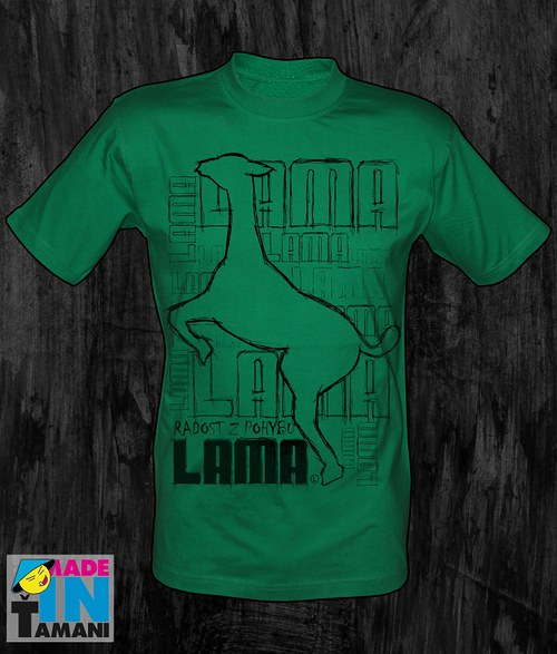 Pánské zelené tričko s Lamou velký tisk 03