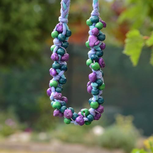Korále motané tyrkysovo fialové