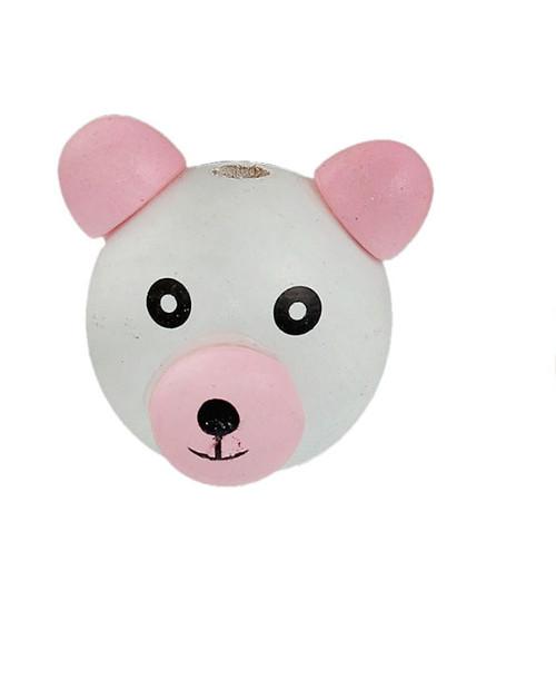 Dřevěná hlava medvídek Ø28mm (1ks) - růžová